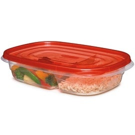 Rubbermaid 7F57-RE-TCHIL Divided Rectangle Container, 29.6 Oz., Red Lid