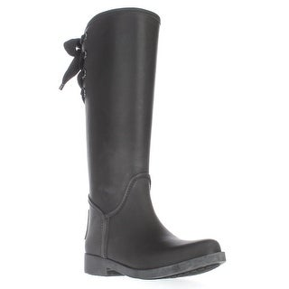 Coach Tristee Back Lace-Up Rainboots, Black