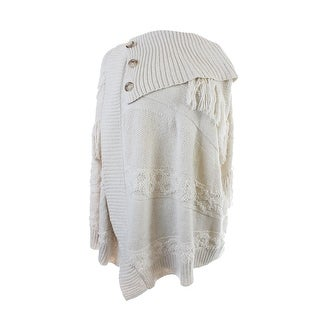 Inc International Concepts Cream Mixed-Knit Wrap Sweater L-XL