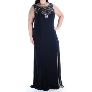 BETSY & ADAM $279 Womens New 1351 Navy Slitted Sheath Dress 16W Plus B+B