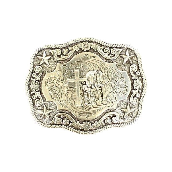 "Nocona Western Belt Buckle Praying Cowboy Cross Silver - 3 3/4"" x 3"""