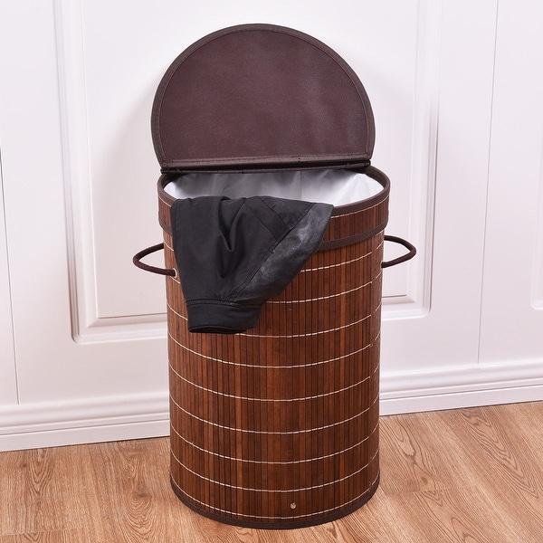 Shop Costway Round Bamboo Hamper Laundry Basket Washing