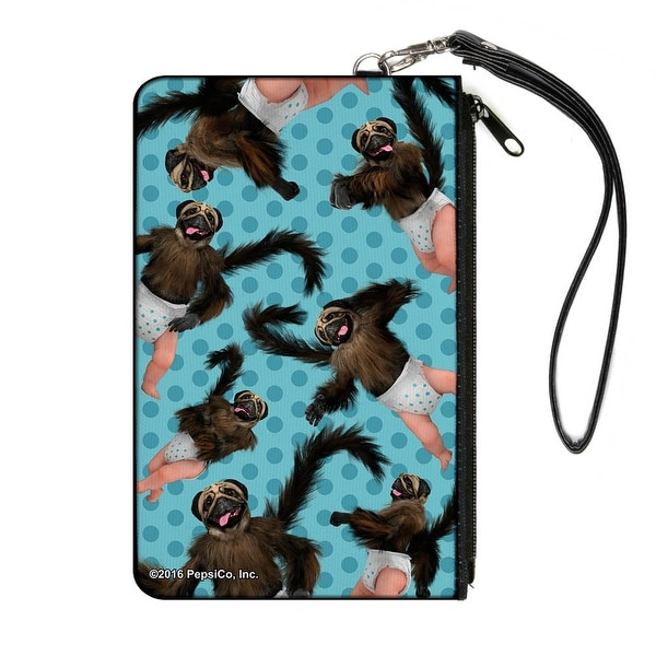 Puppymonkeybaby Poses Scattered Polka Dots Turquoise Blues Canvas Zipper Canvas Zipper Wallet