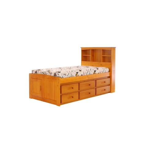 OS Home and Office Furniture Model 2120-K12-KD Solid Pine Twin Captains Bookcase Bed with 12 drawers in Warm Honey