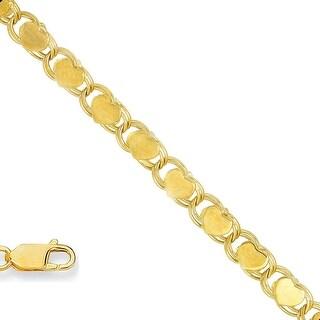 Mcs Jewelry Inc 14 KARAT YELLOW GOLD SOLID HEART CHARM BRACELET 3.3MM (10 INCHES)