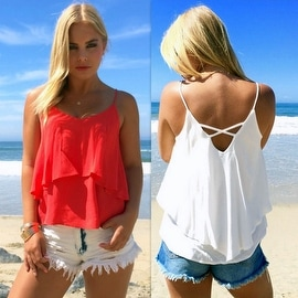 2016 New Sexy Women Summer Casual Sleeveless Blouse Tank Tops Shirt T-Shirt