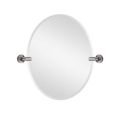 26in. W X 28 in. H Oval Frameless Tilt Mirror for Bathroom Vanity with Bevel - 28 x 26 x 2.4