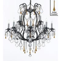 Wrought Iron Crystal Chandelier Lighting Dressed with Amber Crystals