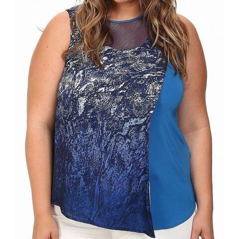 Mynt 1792 Blue Womens Size 4X Plus Mesh Insert Assymetrical Tank Top