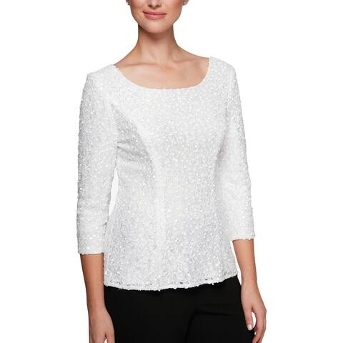 Alex Evenings Womens Pullover Top Sequined Scoop Neck