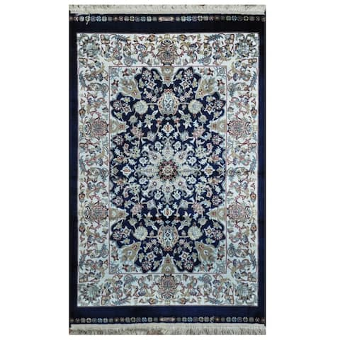 Handmade One-of-a-Kind Kashmiri Silk Rug - 2' x 3'