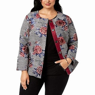 Link to Alfani Womens Jacket Black Size 2X Plus Button Front Floral Print Similar Items in Women's Outerwear