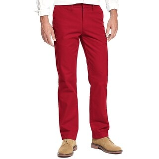 Tommy Hilfiger Mercer Custom Fit Chinos Pants Red Solid 36W x 32L - 36