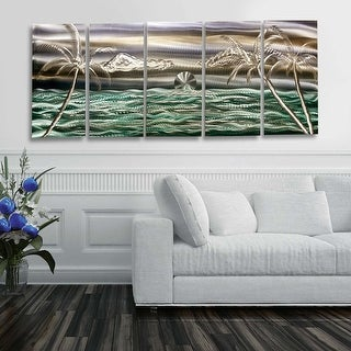 Statements2000 3D Metal Wall Art Modern Tropical Ocean Beach Decor Painting by Jon Allen - Castaway Blue Skies Ahead