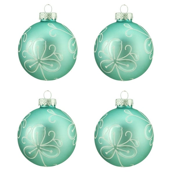 "4ct Matte Teal Green with White Flower Design Glass Ball Christmas Ornaments 2.5"" (65mm)"