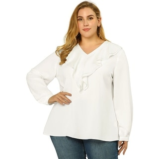 Link to Women's Plus Size Tops Ruffle V Neck Boho Chiffon Blouse - White Similar Items in Tops