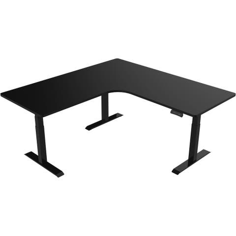 Hanover 73-In. L-Shaped Sit or Stand Electric Height Adjustable Desk with Triple Motor System, Black