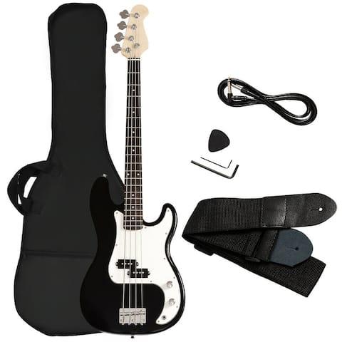Gymax Electric Bass Guitar Full Size 4 String w/ Bag Strap Guitar Pick