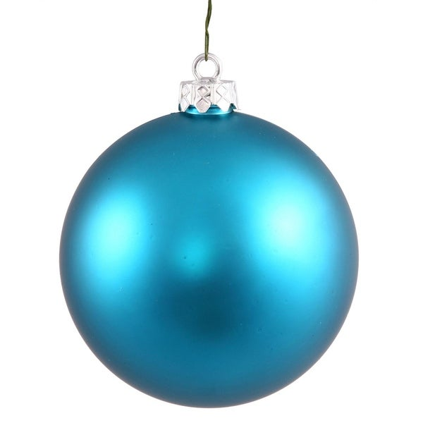 "Matte Turquoise Blue UV Resistant Commercial Shatterproof Christmas Ball Ornament 4"" (100mm)"