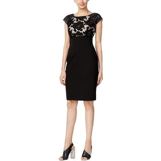 Calvin Klein Womens Casual Dress Lace Cap Sleeves