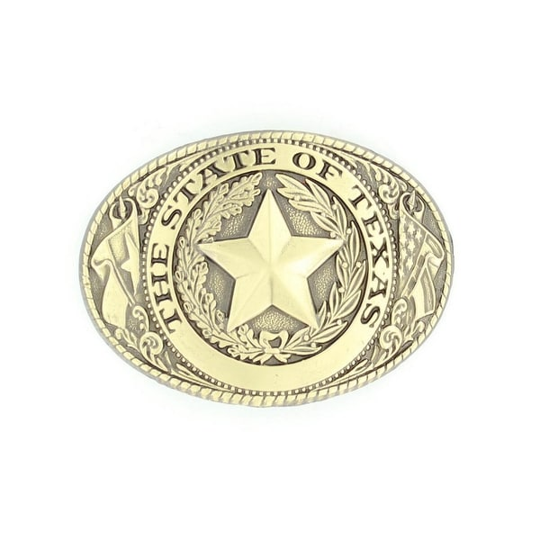 Nocona Western Belt Buckle Classic Country Ovals Texas Star - 2 5/8 x 3 5/8