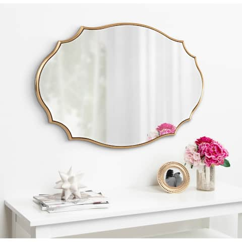 Kate and Laurel Leanna Scalloped Oval Wall Mirror - Gold - 24x36