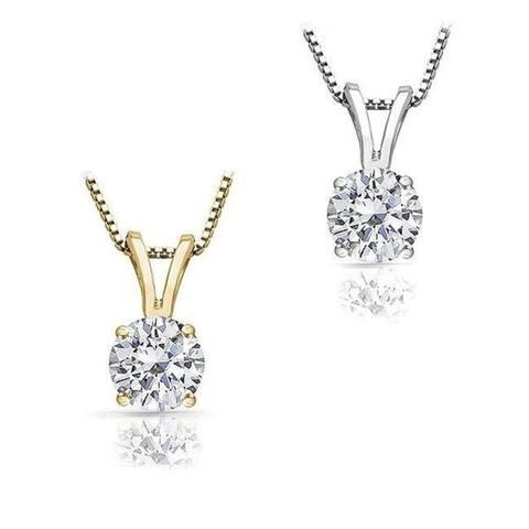 Auriya 14k Gold Round Solitaire Diamond Necklace 1 carat TDW