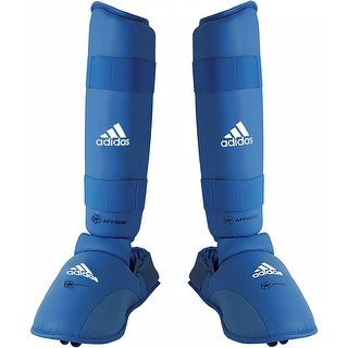 Adidas Official WKF Shin-N-Step Pad with Removable Foot Pad - Blue