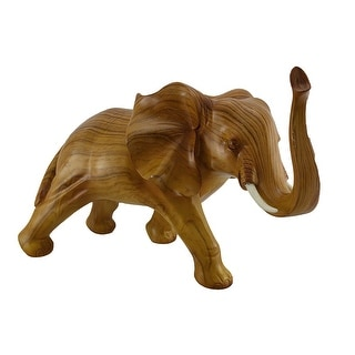 Walking Elephant Decorative Faux Carved Wood Look Statue 18 inch - Brown