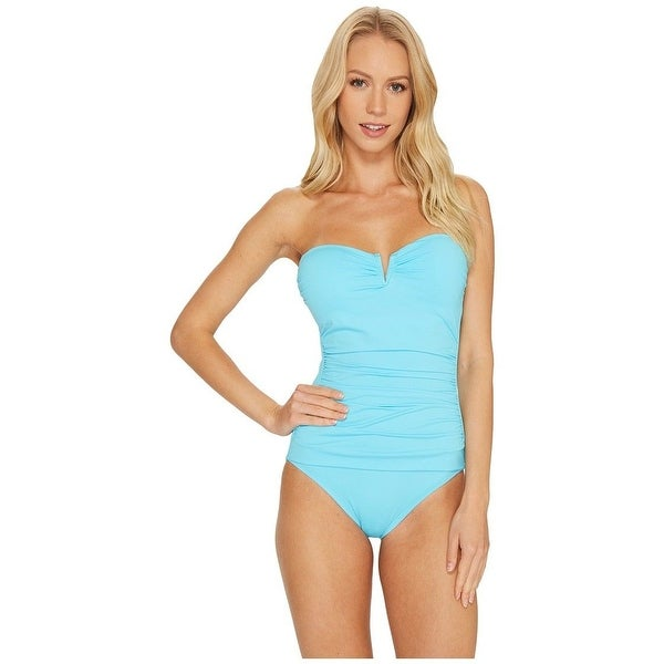 204f80ae52 Shop Tommy Bahama - Pearl V-Front Bandeau One-Piece SZ: 6 - Free Shipping  Today - Overstock - 27068369
