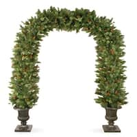 8.5' Wintry Pine Artificial Christmas Archway with Cones, Berries and Snow - Unlit - green
