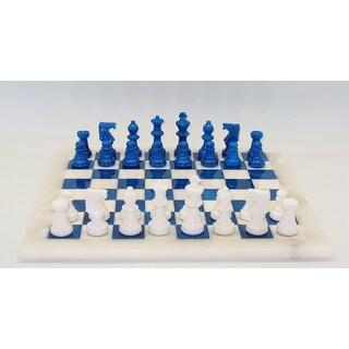 Blue & White Alabaster Chess Set