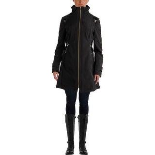 Via Spiga Womens Faux Trim Fleece Lined Soft Shell Jacket - S