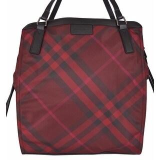 Burberry Burgundy Red Nova Check Packable Purse Bag Tote Shopper