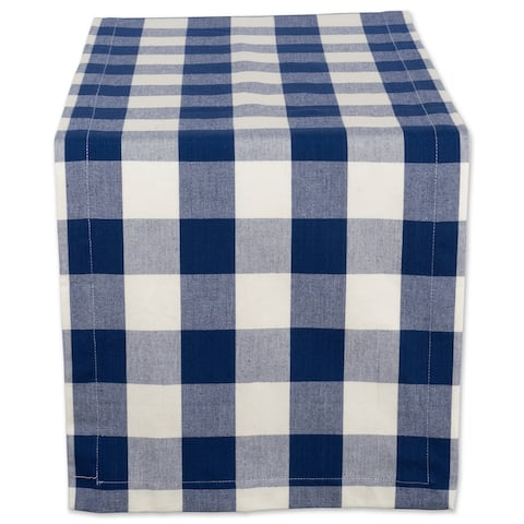 "14"" x 108"" Navy Blue and Ivory Buffalo Checkered Pattern Rectangular Table Runner - N/A"