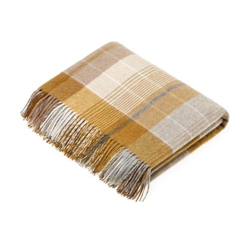 Merino Lambswool Throw Blanket - Florence - Gold / Gray