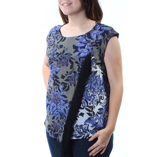 Womens Green Floral Cap Sleeve Jewel Neck Faux Wrap Top Size 4