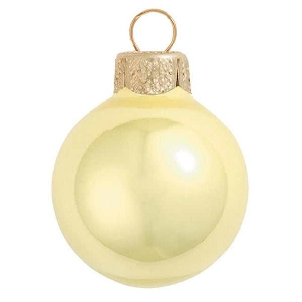 "Pearl Soft Yellow Glass Ball Christmas Ornament 7"" (180mm)"