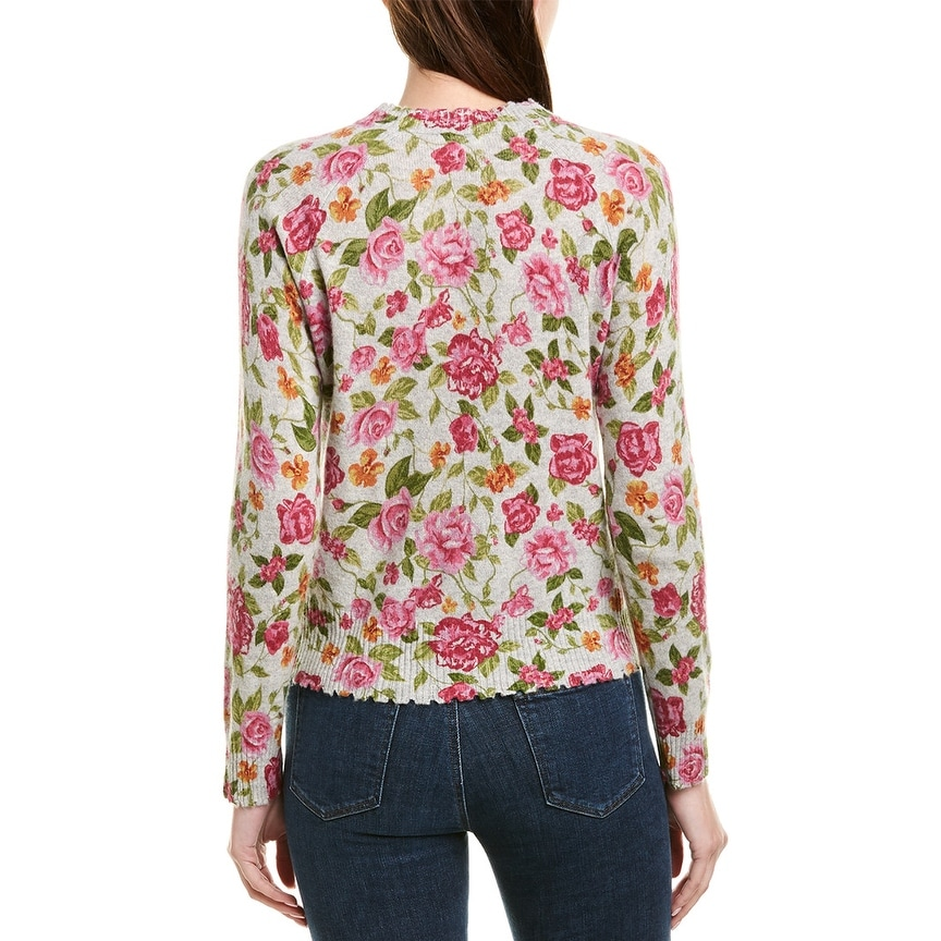 Minnie Rose Printed Cashmere Sweater Size XS