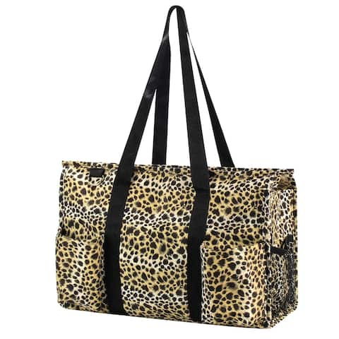Zodaca Lightweight All Purpose Handbag Large Utility Shoulder Tote Carry Bag for Camping Travel Shopping - Leopard