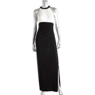 Lauren Ralph Lauren Womens Azusiana Evening Dress Beaded Neckline Ruched Side
