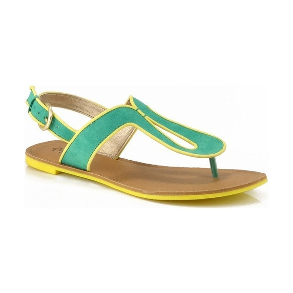 Qupid Athena-553A Colorblock Slingback Thong Flat Sandal - Sea Green