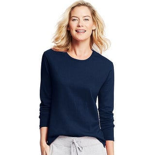 Hanes Women's Long-Sleeve Crewneck T-Shirt - Size - S - Color - Navy