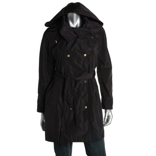 Ellen Tracy Womens Water Resistant Double-Breasted Trench Coat