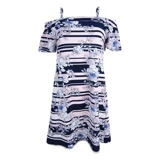 Jessica Simpson Women's Off Shoulder Shift Dress (8, Black/White/Blush) - Black/White/Blush - 8