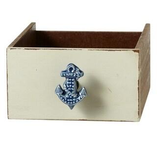 "Set of 12 Blue and White Decorative Ceramic Nautical Anchor Knobs 2.5"""