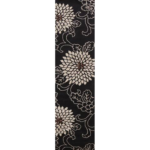"""Black Floral Contemporary Oriental Runner Rug Hand-tufted Wool Carpet - 2'8"""" x 11'10"""""""
