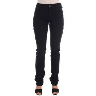 Galliano Black Cotton Denim Stretch Regular Fit Jeans