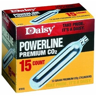 Daisy 15 Ct. Co2 Powerline Cartridge (Silver, 12 Gm), , 12Gm