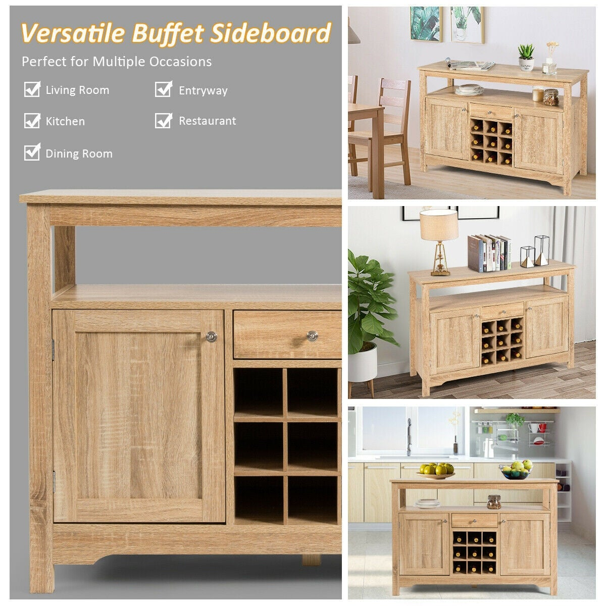 Buffet Server Sideboard Wine Cabinet Console Overstock 30732386